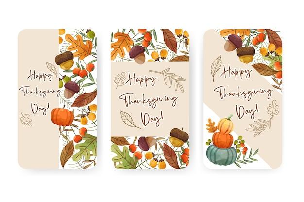Happy thanksgiving day-kaart of flyer met walnoot, pompoen en esdoornbladeren.