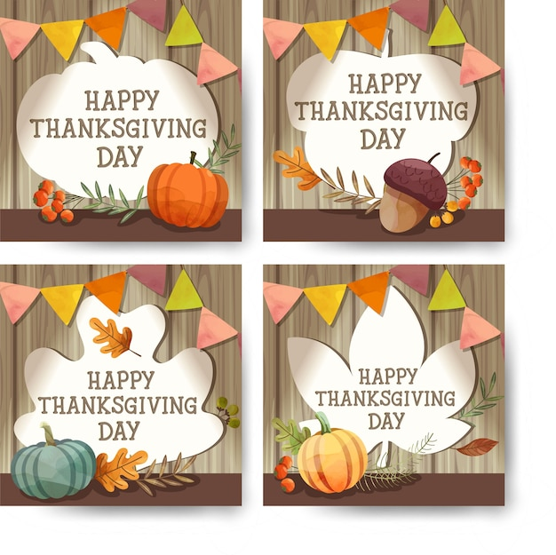 Happy thanksgiving day-kaart of flyer met walnoot, pompoen en esdoornbladeren.