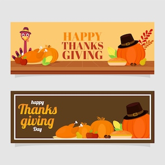 Happy thanksgiving day-koptekst of banner met festivalelementen in twee kleurenoptie.