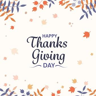 Happy thanksgiving day lettertype op witte achtergrond versierd met herfstbladeren.