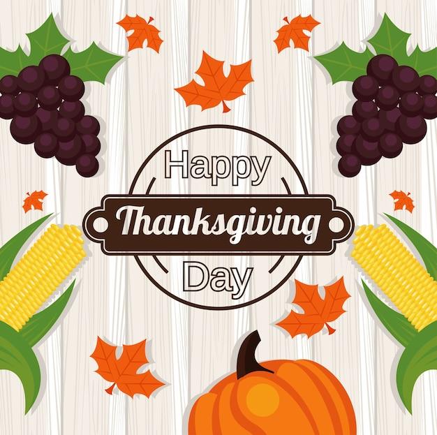 Happy thanksgiving day met druiven en groenten op houten achtergrond.