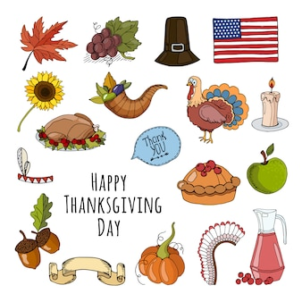 Happy thanksgiving day met elementen collectie
