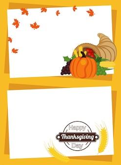 Happy thanksgiving day met fruit in hoorn en spikes frames.