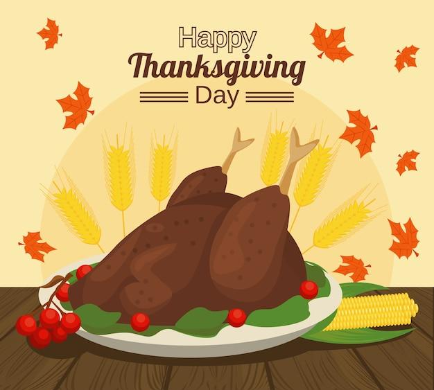Happy thanksgiving day met kalkoen eten en maïskolf in tafel.