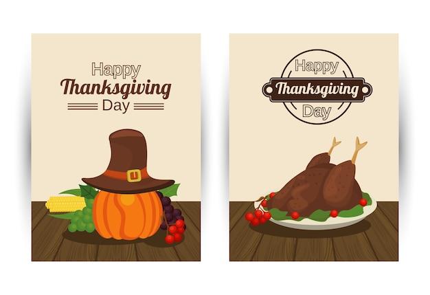 Happy thanksgiving day met kalkoen eten en pompoen met pelgrim hoed.