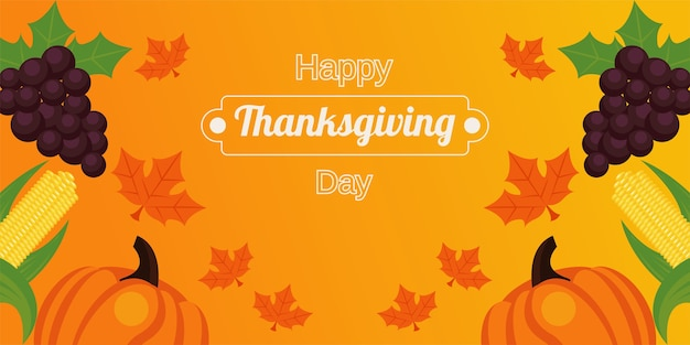 Happy thanksgiving day met vers fruit en belettering.
