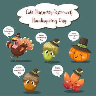 Happy thanksgiving day-pictogrammen met bessen, walnoten, bladeren en gedroogde dennenappels.