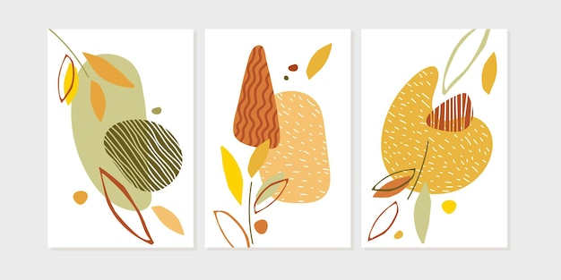 Happy thanksgiving day-posterset trendy abstract natuurontwerp