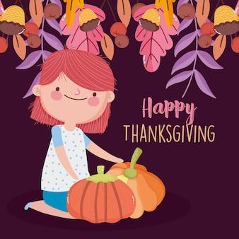 Happy thanksgiving day schattig meisje op knieën met pompoenen