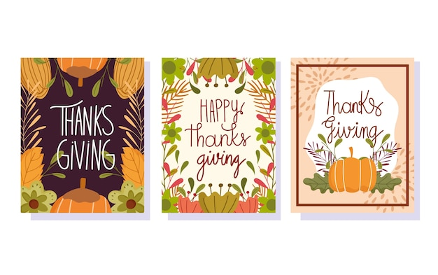 Happy thanksgiving day, seizoensgebonden belettering gebladerte verlaat pompoen bloemen banners