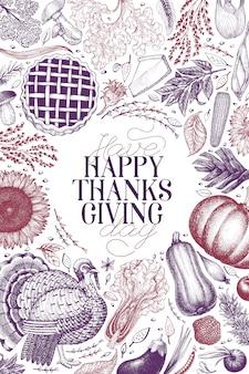 Happy thanksgiving day sjabloon. hand getekende illustraties.