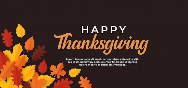 Happy thanksgiving day tekst minimale banner met droge herfstbladeren