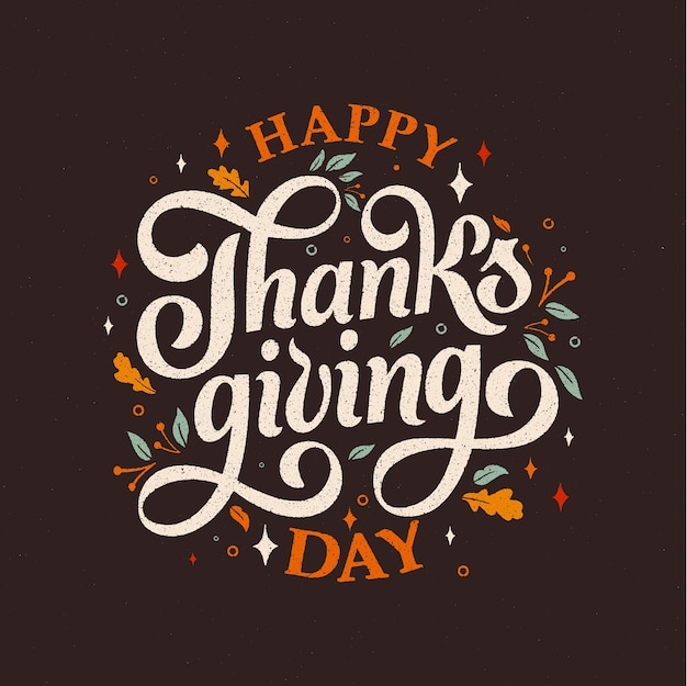 Happy thanksgiving day typografie