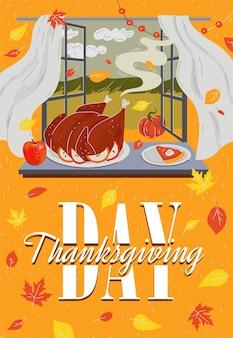 Happy thanksgiving day vakantie poster traditionele schotel herfst familiefeest banner met