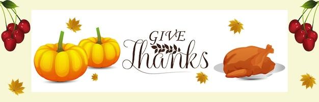 Happy thanksgiving day viering banner met creatieve elementen op witte achtergrond