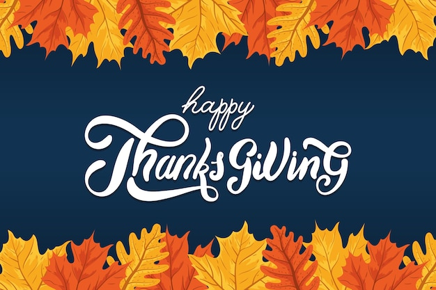 Happy thanksgiving day viering belettering met bladeren herfst frame