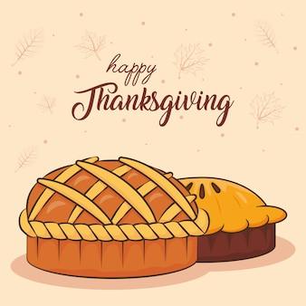 Happy thanksgiving day viering belettering met zoete taart en cake