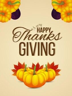Happy thanksgiving day viering flyer met herfstbladeren en pompoen