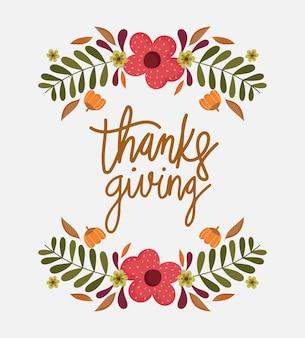 Happy thanksgiving day, wenskaart bloemen banches decoratie