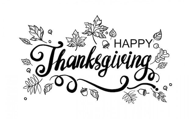Happy thanksgiving day wenskaart met belettering en tekening bladeren