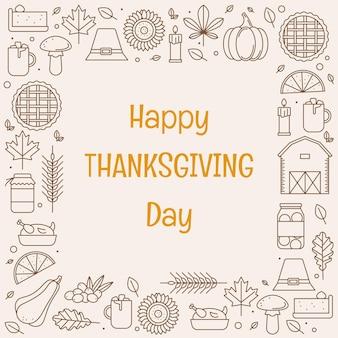 Happy thanksgiving day-wenskaart met frame van lijnpictogrammen vectorillustratie