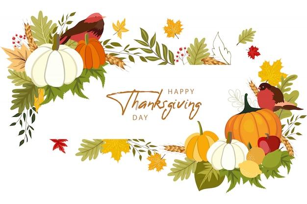 Happy thanksgiving day wenskaartsjabloon met groenten en kleurrijke bladeren.
