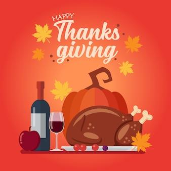 Happy thanksgiving dinerset. feestelijk vakantiediner.