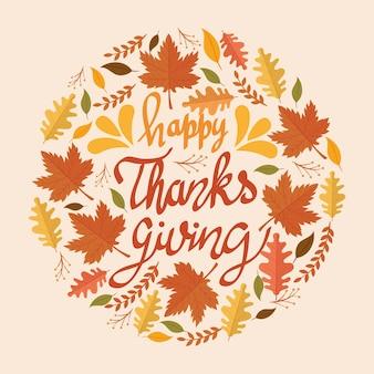 Happy thanksgiving feest belettering kaart met bladeren circulaire patroon illustratie ontwerp