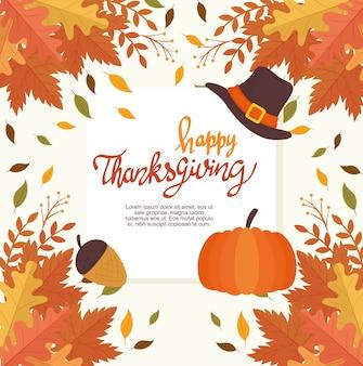 Happy thanksgiving feest belettering kaart met bladeren frame en pictogrammen afbeelding ontwerp