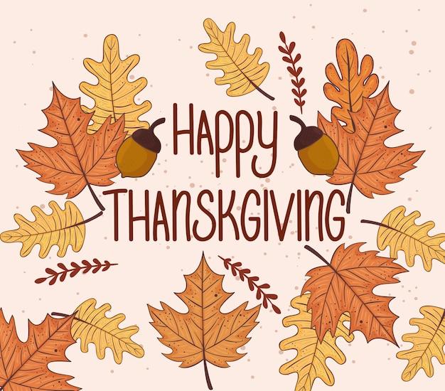 Happy thanksgiving feest belettering kaart met bladeren herfst afbeelding ontwerp