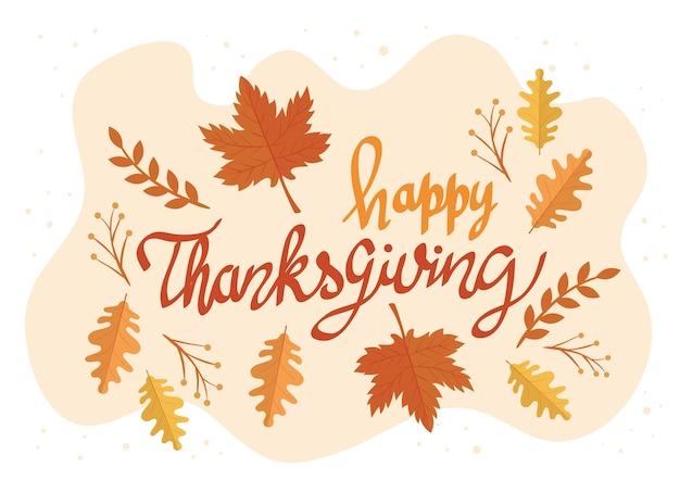 Happy thanksgiving feest belettering kaart met bladeren patroon afbeelding ontwerp