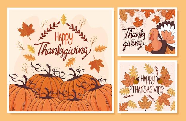 Happy thanksgiving feest belettering kaart met decorontwerp sjablonen afbeelding