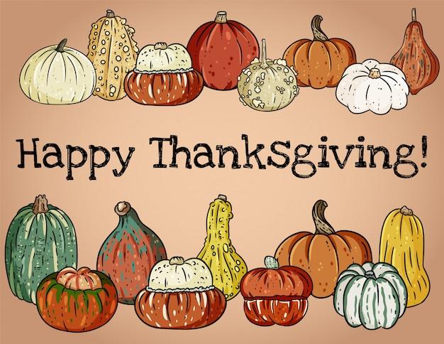 Happy thanksgiving festival decoratieve banner met schattige kleurrijke pompoenen