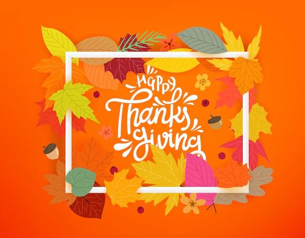 Happy thanksgiving, herfst samenstelling met witte frame en kleur bladeren