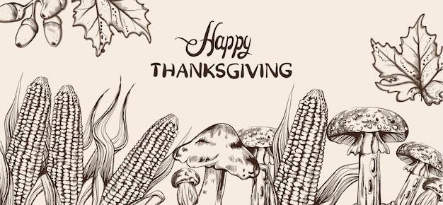 Happy thanksgiving-kaart lijntekeningen. maïs herfst oogst illustraties
