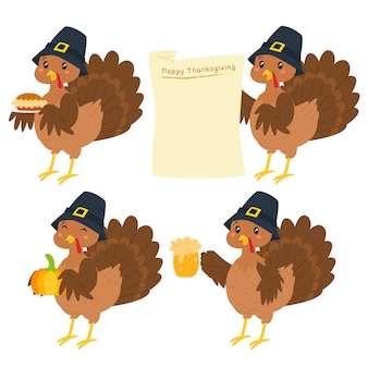 Happy thanksgiving kalkoen cartoon karakter vector set.