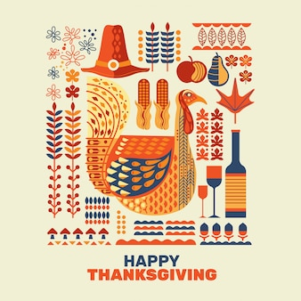 Happy thanksgiving kalkoenen en decoratie met design element set