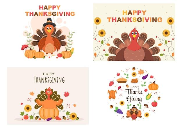 Happy thanksgiving met cartoon turkije vectorillustratie