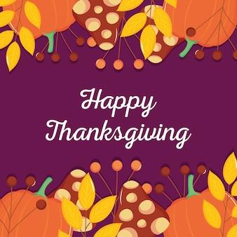 Happy thanksgiving met decoratieve pompoenen