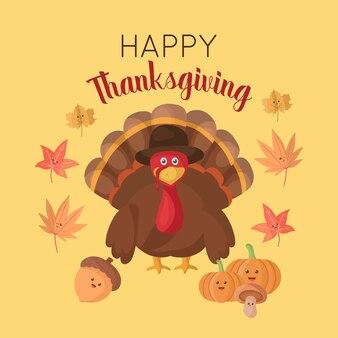 Happy thanksgiving platte kalkoen hoed pompoen