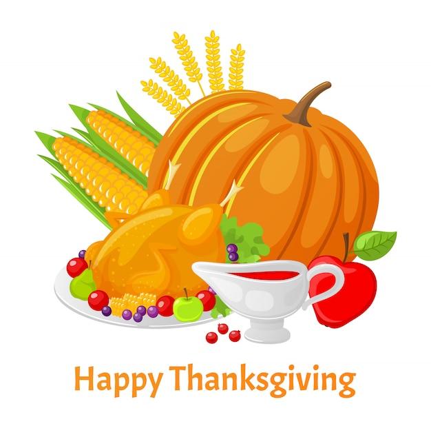 Happy thanksgiving-poster met pompoen