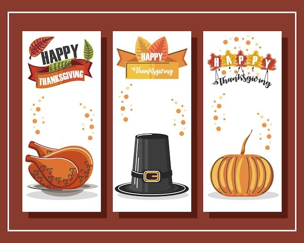 Happy thanksgiving set banners met kalkoen, hoed, pompoen en belettering