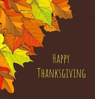 Happy thanksgiving vakantie herfst en bladeren