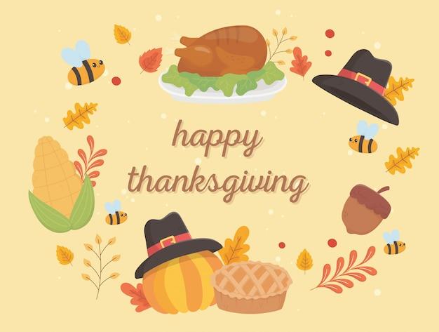 Happy thanksgiving viering belettering kalkoen hoed pompoen cake bladeren