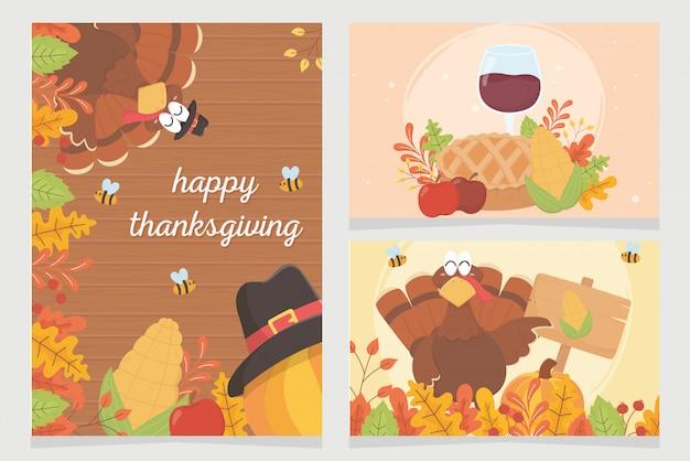 Happy thanksgiving viering posters kalkoen pompoen pelgrim hoed gebladerte
