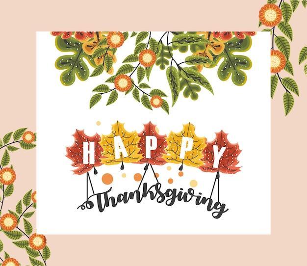 Happy thanksgiving wenskaart met bloemen, gebladerte en woord op esdoornblad