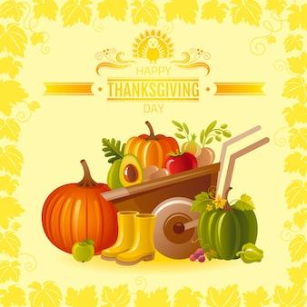 Happy thanksgiving-wenskaart met kruiwagen, pompoen, fruit en groente, rubberen schoenen.