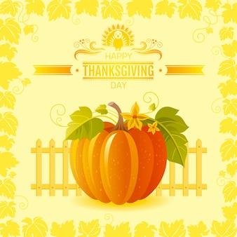 Happy thanksgiving wenskaart met pompoen en herfstbladeren.