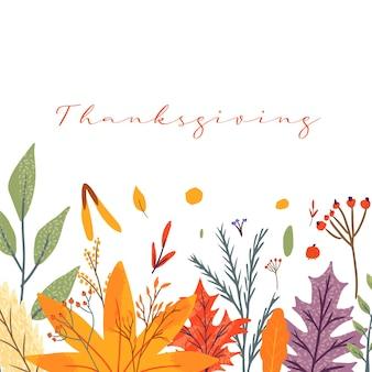 Happy thanksgiving wenskaarten en uitnodigingen. viering poster met tekst, herfstbladeren, bessen voor briefkaart, banner. vector kalligrafie belettering vakantie offerte