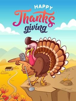 Happy thanksgiving zingen coole cartoon kalkoen met zonnebril en microfoon